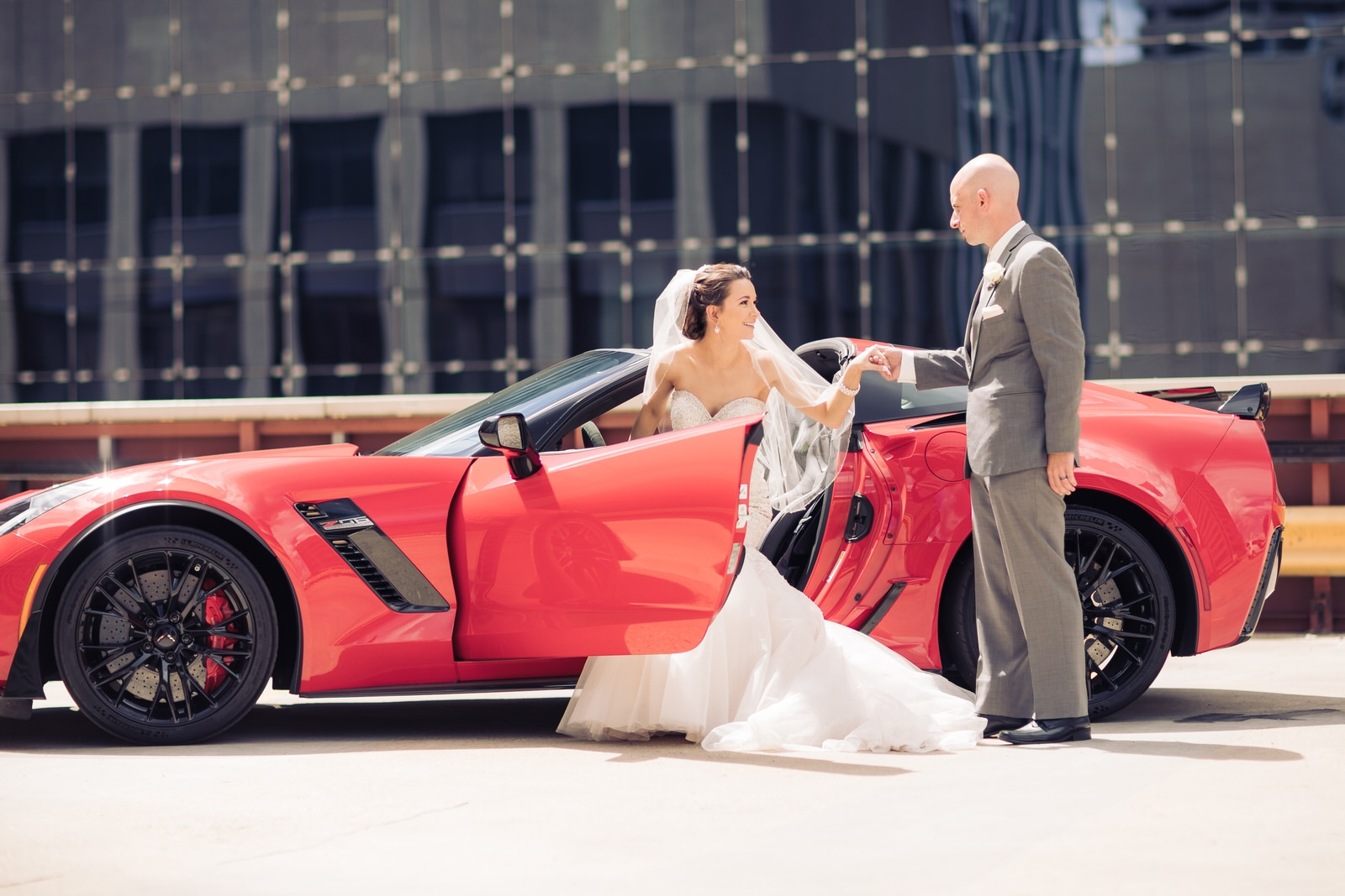corvette wedding photo