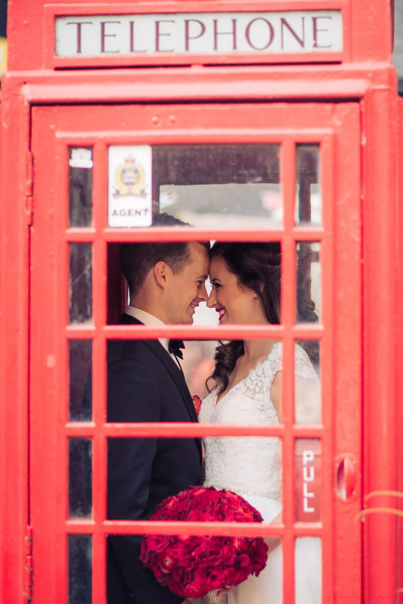 phone booth wedding photo