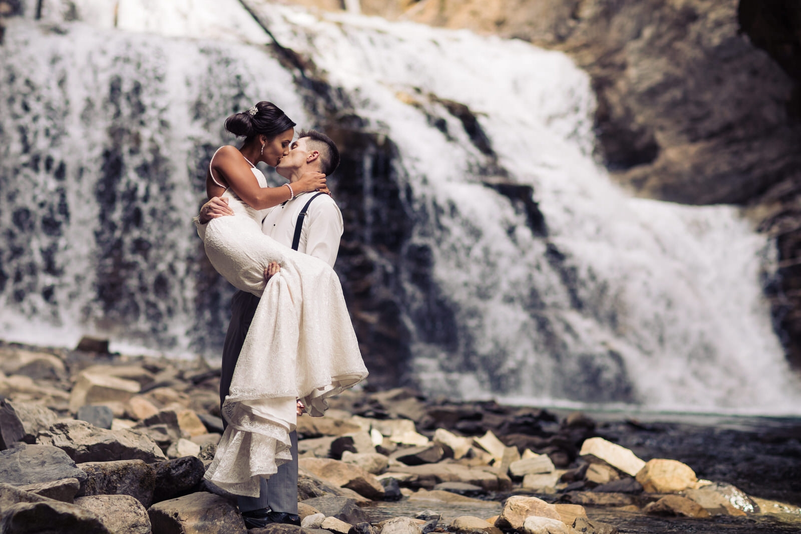waterfall wedding photo